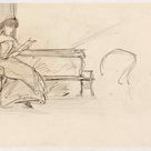 Jozef Israëls, 1834 - Woman reading on a bench - fine art print - Poster print (canvas paper) / 90x60cm - 35x24