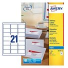 Avery J8160-10 A4 Sheet Address Labels for Inkjet Printers - White, 10 Sheets