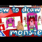 How To Draw A Scary Cute Monster (Folding Surprise) - Art For Kids Hub -