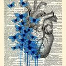 Heart Human Anatomy Butterfly Anatomical Heart Print  Dictionary Page, Anatomy Heart Wall Decor, Heart Poster Anniversary Gift 467
