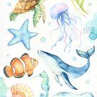 Under the Sea Watercolor clipart, Nursery Prints, Nautical Clipart, Nursery Art, Nursery Printables, Instant Download, Sea Animals, Kids Art