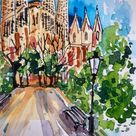 Sagrada Familia Barcelona painting framed watercolor original, Barcelona painting, Sagrada Familia in Small Painting Wall Art Decor Painting