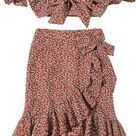 MakeMeChic Women's Two Piece Floral Knot Shirred Back Cami Crop Top and Ruffle Wrap Skirt Set