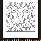 Cats, Bats And Pumpkins Coloring Page • FREE Printable eBook