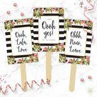 Say YES To The Dress Signs   Floral & Black and White Stripes Printable I said Yes Wedding Dress Sho