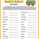 Free Printable Back to School Word Scramble Puzzle