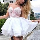 A Line Spaghetti Straps Tiered White Homecoming Dress with Appliques Cheap Casual Dresses