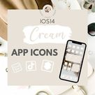 350 Pack Cream Beige app icons for customizing home screen in new IOS 14 update iPhone app covers beige nude aesthetic