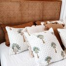 Palm Tree Quilted cotton cushion cover, pillow case, shams, squire cushion, hand block printed AHPC#01