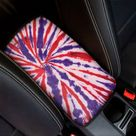 Purple And Red Spider Tie Dye Print Car Center Console Cover