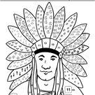 Les Indiens d'Amérique, coloriage selon un codage 3 - école maternelle Gellow