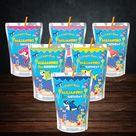 shark baby Caprisun label wrapper shark party favors boy Capri sun juice label juice pouch shark baby party decoration baby shark birthday