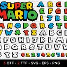 Super Mario Font, mario font letters SVG, DXF, PNG, eps, for cricut,silhouette,printing, super mario