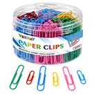 500 Paper Clips, Medium and Jumbo Assorted Sizes (1.3'' & 2''), Vinyl Coated Color Paperclips for Office School Document Organizing, All in The Divided Paper Clip Holder