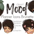 Mood Planner Icons, Emoji Clipart, Mood Tracker, Planner Girl, Planner Png, Girls Png, Planner Sticker, Happy Planner Stickers, Erin Condren