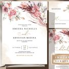 Wedding Bundle Template Instant Download Invitation Blush   Etsy