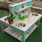 Back to back mud kitchen/gardening bench