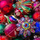 Colorful Christmas Ornaments Art Print by Garry Gay