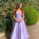 Purple tulle lace long prom dress purple evening dress
