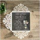 ivory laser cut chalkboard mason jar rustic wedding invitations EWWS089