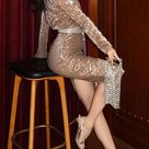 Matte Gold Sequined Pleated Bat Sleeve Dress