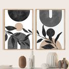 Mid Century Modern Black White Beige Minimal Gallery Art Wall | Etsy