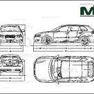 Audi S3 Sportback 2009   2D drawing blueprints   30137   Model COPY   English