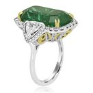 GIA Certified 12.40 Carat Emerald and Diamond Halo Cocktail Ring Set In 8K White and Yellow Gold