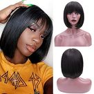 ALI GRACE Pre Plucked Bleached Knots Lace Closure Bob Wig 150% Density 4x4 Straight Wigs Human Hair for Black Women 9A Remy Human Hair Wigs with Baby Hair - 12 / 4x4 99J Bob