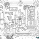 Printable Interior Coloring Page, Adult Coloring Book, Plants And Cat Colouring Sheet, Instant Download, Bohemian Interior