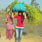 indian college girls in salwar kameez and jeans at village