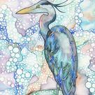 Heron  print of beautiful bird turquoise teal cobalt sky soft | Etsy