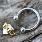 316L Stainless Steel Gold Plated Heart Snap In Captive Bead Ring / Septum Ring