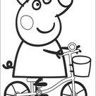 Kids-n-Fun   Kleurplaat Peppa de Big Peppa op de fiets