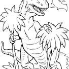 T Rex dinosaur coloring pages for kids, printable free