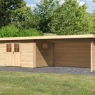 KARIBU Gartenhaus Blockbohlenhaus SET Torgau 5 40 mm naturbelassen, inkl. 4 m Anbaudach + Seiten-/Rückwand - BxTxH: 806x333x217 cm, Sockelmaß Haus:...