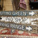 Wood Golfing Sign Set, Golfing Gift, Retirement Gift, Driving Range, Putting Green Rustic Wood Signs, Golf Sign Set