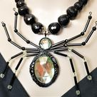 Spider Necklace, Oversized Halloween Necklace, Black Widow Spider Pendant, Big Bold Chunky, Witch, Wiccan, Goth Gothic, Statement, Scorpion
