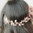 Wedding hair vine rose gold hairpiece bridal headband wedding wreath rose gold head piece leaf tiara Greek crown bridal halo communion hair