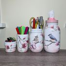 Pink Magnolia & Bird Mason Jar Desk Set, Decoupage Jar, Office Desk Organizer,Desk Office Decor,Office Desk Accessories, Office Supplies