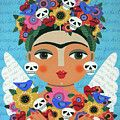 Frida Kahlo Mermaid Angel with Flaming Heart by LuLu Mypinkturtle