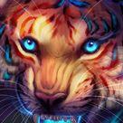 Tiger, art, grin, glow background