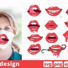 12 LIPS FACE MASK svg pattern, lips cricut svg vector (545115) | SVGs | Design Bundles