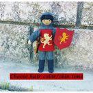 Dollhouse Castle Knight Doll (red tunic) - Tan skin black hair #2