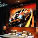3D Orange Yellow Race Car Wallpaper Mural for Home or Business