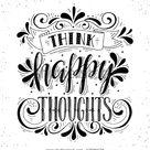 Denken Sie glückliche Gedanken.Inspiration Zitat.Handgezeichnete Illustration Stock-Vektorgrafik (Lizenzfrei) 478069738