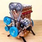 Engine Kit 4 Cylinder Car Engine Assembly Model Gift for Collection