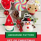 Christmas Gingerbread man Christmas decorations mini christmas tree . Crochet snowman tree ornament