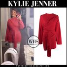 Kylie Jenner in red wrap mini dress on August 20