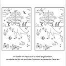 Fehlersuchbild Dinosaurier - Kinder Rätsel zum Ausdrucken